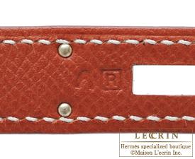 Hermes Kelly bag 28 Brique Epsom leather Silver hardware
