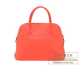 Hermes Bolide bag 31 Rose jaipur/Indian pink Clemence leather Silver hardware