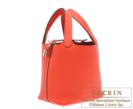 Hermes Picotin Lock bag PM Rouge pivoine Clemence leather Silver hardware