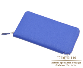 Hermes Azap long Blue electric Togo leather Silver hardware