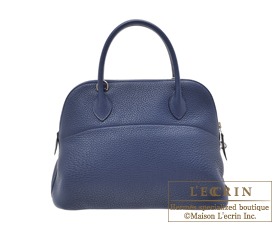 Hermes Bolide bag 31 Blue de malte Clemence leather Silver hardware