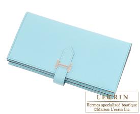 hermes passport - Hermes Bearn Soufflet Blue atoll Epsom leather Silver hardware ...