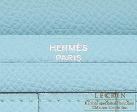 Hermes Bearn Soufflet Blue atoll Epsom leather Silver hardware