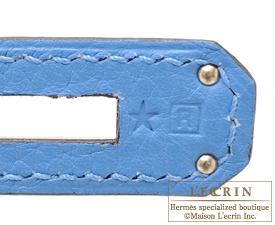 Hermes Kelly bag 32 Retourne Blue paradise Clemence leather Silver hardware
