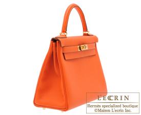 Hermes Kelly bag 28 Feu/Fire orange Togo leather Gold hardware