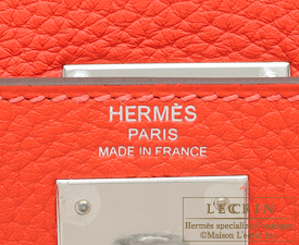 Hermes Kelly bag 28 Rouge pivoine Clemence leather Silver hardware