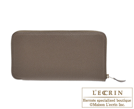 Hermes Azap long Taupe grey Togo leather Silver hardware