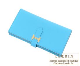Hermes Bearn Soufflet Blue aztec Chevre myzore goatskin Gold hardware