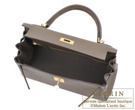 Hermes Kelly bag 28 Taupe grey Togo leather Gold hardware