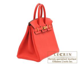 Hermes Birkin bag 25 Rouge pivoine Togo leather Gold hardware