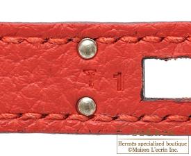 Hermes Kelly bag 25 Rouge pivoine Togo leather Silver hardware