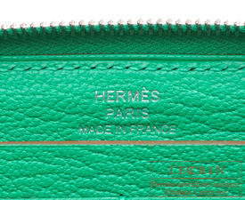 Hermes Azap long Menthe Chevre myzore goatskin Silver hardware