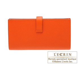 Hermes Bearn Soufflet Feu Chevre myzore goatskin Silver hardware
