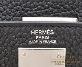 Hermes Kelly bag 28 Plomb Clemence leather Silver hardware