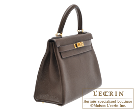 Hermes Kelly bag 28 Cafe Clemence leather Gold hardware
