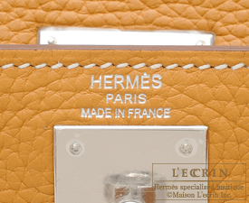 Hermes Kelly bag 28 Natural sable Clemence leather Silver hardware