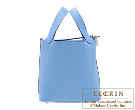 Hermes Picotin Lock Touch bag PM Blue paradise Clemence leather/ Swift leather Silver hardware