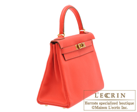 Hermes Kelly bag 28 Rose jaipur Clemence leather Gold hardware
