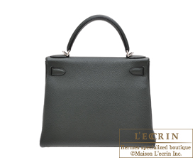 Hermes Kelly bag 28 Vert fonce Togo leather Silver hardware