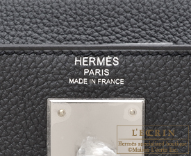 Hermes Kelly bag 28 Plomb Togo leather Silver hardware