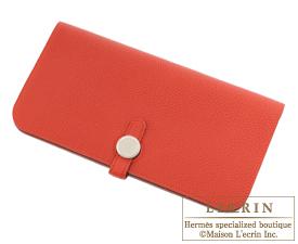 Hermes Dogon LONG Vermillon Togo leather Matt silver hardware