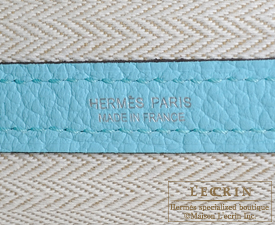 Hermes Garden Party bag TPM Blue atoll  Country leather Silver hardware