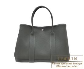 Hermes Garden Party bag TPM Vert fonce Negonda leather Silver hardware