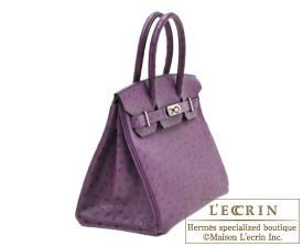 Hermes Birkin bag 30 Violet Ostrich leather Silver hardware