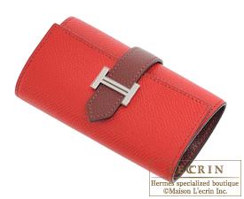 hermes card cases casaque red