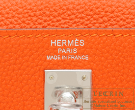 Hermes Kelly bag 25 Feu Togo leather Silver hardware