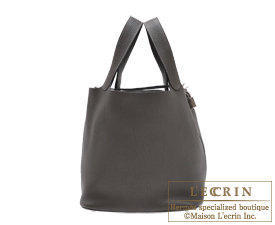 Hermes Picotin Lock bag GM Graphite Clemence leather Silver hardware
