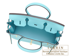 Hermes Birkin bag 30 Blue atoll Togo leather Gold hardware