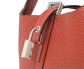 Hermes Picotin Lock bag PM Brique Clemence leather Silver hardware