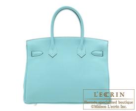 Hermes Birkin bag 30 Blue atoll Togo leather Silver hardware