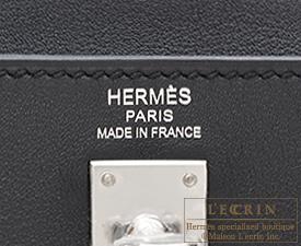 Hermes Kelly bag 25 Black Swift leather Silver hardware