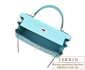 Hermes Kelly bag 28 Blue atoll Togo leather Silver hardware