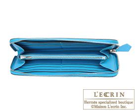 Hermes Azap long Blue aztec Chevre myzore goatskin Silver hardware