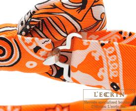 Hermes Noeud Papillon Fleurs et papillons de tissu Orange Black White Silk  ... 823f3d7282a