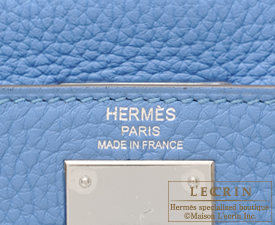 Hermes Kelly bag 28 Blue Paradise Clemence leather Silver hardware