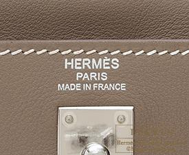 Hermes Kelly bag 25 Etoupe grey Swift leather Silver hardware
