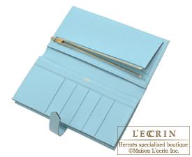 Hermes Bearn Soufflet Blue atoll Epsom leather Gold hardware