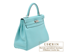 Hermes Kelly bag 32 Blue atoll Clemence leather Silver hardware