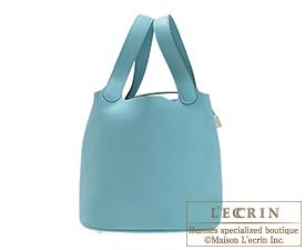 Hermes Picotin Lock bag MM Blue Saint-Cyr Clemence leather Silver hardware