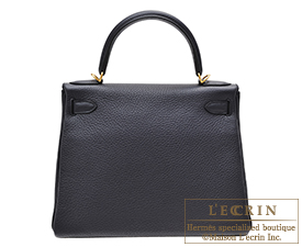 Hermes Kelly bag 28 Blue indigo Togo leather Gold hardware