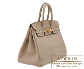 Hermes Birkin bag 35 Gris tourterelle/Mouse grey Togo leather Gold hardware