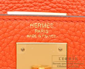 Hermes Kelly bag 28 Orange poppy Togo leather Gold hardware