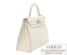 Hermes Kelly bag 32 Craie Epsom leather Gold hardware