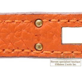 Hermes Kelly bag 25 Orange Togo leather Gold hardware