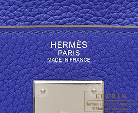 Hermes Kelly bag 32 Blue electric Clemence leather Silver hardware
