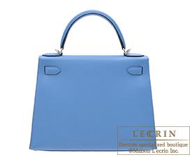 Hermes Kelly bag 28 Blue paradise Epsom leather Silver hardware